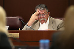 Nevada Sen. Pete Goicoechea, R-Eureka, works in committee at the Legislative Building in Carson City, Nev., on Wednesday, April 15, 2015.<br /> Photo by Cathleen Allison