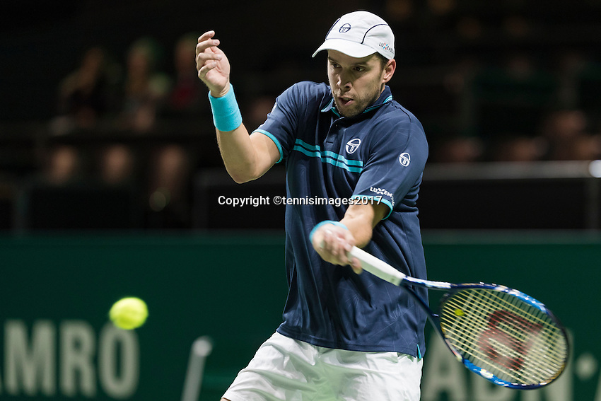 ABN AMRO World Tennis Tournament, Rotterdam, The Netherlands, 14 februari, 2017, Gilles Muller (LUX)<br /> Photo: Henk Koster