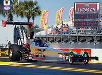 Mar 18, 2017; Gainesville , FL, USA; NHRA top alcohol dragster driver Justin Ashley during qualifying for the Gatornationals at Gainesville Raceway. Mandatory Credit: Mark J. Rebilas-USA TODAY Sports
