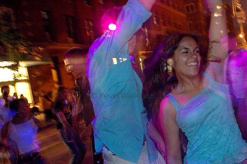 The heavy traffic on Massachusetts Avenue in Cambridge, Mass., is replaced by music and dancing, for one evening at least, during the annual Cambridge  Dance Party.