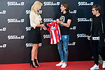 South African actress Charlize Theron with Atletico de Madrid's player Antoine Griezmann and Filipe Luis during the presentation of the film &quot;Fast &amp; Furious 8&quot; at Hotel Villa Magna in Madrid, April 06, 2017. Spain.<br /> (ALTERPHOTOS/BorjaB.Hojas)