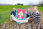 Kilgarvan GAA club chairman Tom Randles right with Jerh Lyne and Tadgh O'Donoghue left who are appealing for the church to sell the field adjacent to their GAA pitch to the club..