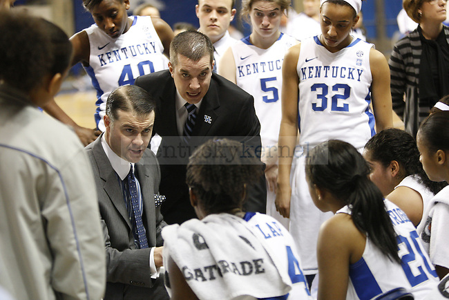 UK Hoops' head coach Matthew Mitchell and assistant coach Matt Insell talk to the team during a timeout in the first half of UK Hoops' home game against Vanderbilt, at Memorial Coliseum Jan. 23, 2011. Photo by Collin Lindstrom   Staff.