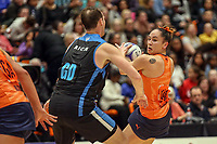 All Stars Whitney Souness is closed down by NZ Men's Daniel Rich during the Cadbury Netball Series match between NZ Men and All Stars at the Bruce Pullman Arena in Papakura, New Zealand on Friday, 28 June 2019. Photo: Dave Lintott / lintottphoto.co.nz