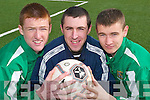 Irish caps: David Culhane (left) and Brian Murphy celebrate their call up to Ireland's U-16 squad to play Germany in Pat Kennedy Park, Listowel, next Thursday with goalkeeping coach Aidan Carey.   Copyright Kerry's Eye 2008