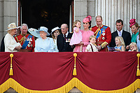 Camilla, Duchess of Cornwall; Prince Charles, Prince of Wales; Princess Beatrice; HM Queen Elizabeth II &amp; Prince Philip, Duke of Edinburgh; Catherine, Duchess of Cambridge; Princess Charlotte; Prince George &amp; Prince William, Duke of Cambridge; Savannah &amp; Peter Phillips on the balcony of Buckingham Palace following the Trooping of the Colour Ceremony celebrating the Queen's official birthday. London, UK. <br /> 17 June  2017<br /> Picture: Steve Vas/Featureflash/SilverHub 0208 004 5359 sales@silverhubmedia.com
