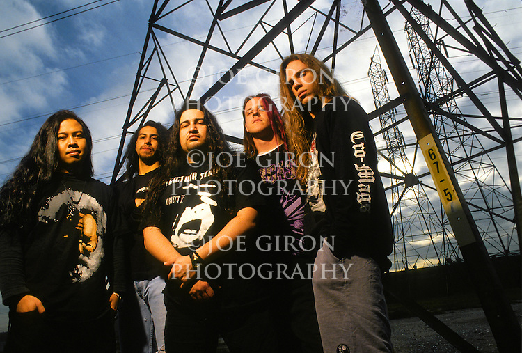 Various portrait sessions of the rock band, Fear Factory.