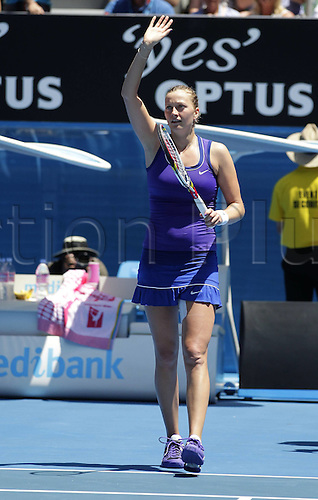 25.01.2012 Melbourne, Australia. The ATP and WTA Australian Open Tennis Tournament. Image shows.  Petra Kvitova CZE beckons and thanks to the crowd