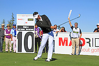 Lee Slattery (ENG) tees off on the 10th tee during Sunday's Final Round of the Bankia Madrid Masters at El Encin Golf Hotel, Madrid, Spain, 9th October 2011 (Photo Eoin Clarke/www.golffile.ie)
