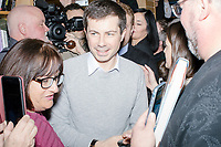 Democratic presidential candidate Pete Buttigieg arrives to speak at a campaign event at Gibson's Bookstore in Concord, New Hampshire, USA, on Sat., Apr. 6, 2019. Buttigieg is the mayor of South Bend, Indiana, and was widely considered a long-shot candidate until his appearance in a CNN town hall in March 2019 which catapulted his campaign to prominence and substantial donations.