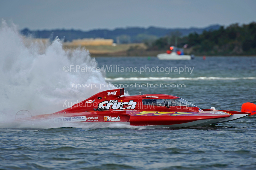 """Ghislain Marcoux, driver of CE-666 """"El Diablo"""", takes his first ride in the boat he will race in the Grand Prix class next year what will be the former  GP-777 """"The Crush""""."""