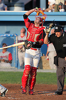 Batavia Muckdogs catcher Geoff Klein (32) during a game vs. the Lowell Spinners at Dwyer Stadium in Batavia, New York July 14, 2010.   Batavia defeated Lowell 12-2.  Photo By Mike Janes/Four Seam Images