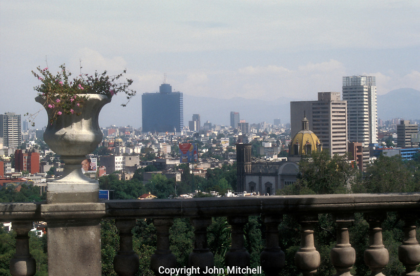 View of mexico City skyline from Chapultepec Castle or Castillo de Chapulptpec in Mexico City. .