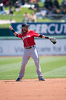 Tacoma Rainiers second baseman Taylor Motter (8) makes a throw to first base during a Pacific Coast League against the Sacramento RiverCats at Raley Field on May 15, 2018 in Sacramento, California. Tacoma defeated Sacramento 8-5. (Zachary Lucy/Four Seam Images)