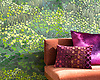 Living Wall, a waterjet mosaic, shown in shades of green Serenity glass, is part of the Broad Street™ collection by New Ravenna.<br /> <br /> Pillows courtesy of Kevin O'Brien Studio.