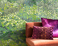 Living Wall, a waterjet mosaic, shown in shades of green Serenity glass, is part of the Broad Street™ collection by New Ravenna.<br />