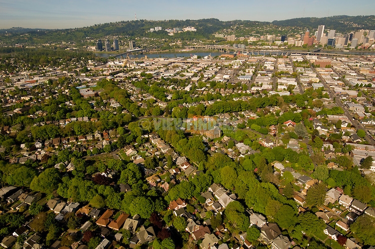 Aerial View of Ladd's Addition Neighborhood, SE Portland, Oregon