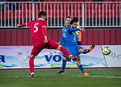 27th March 2018, Karadjorde Stadium, Novi Sad, Serbia; Under 21 International Football Friendly, Serbia U21 versus Italy U21; Erhan Masovic of Serbia tries to block the shot from Forward Daniele Verde of Italy