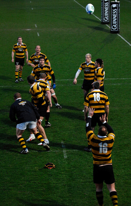 Photo: Richard Lane..London Wasps training session at Adams Park. 29/03/2007. .Wasps' forwards practice lineout.