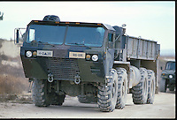 HEMTT Heavy Expanded Mobility Tactica Truck used by US Army and other branches.  Made by Oskosh Truck Corp.  Five variants include M977, M978,M984, M983, M985.  Photograph by Hans Halberstadt/Military Stock Photography.  Credit Hans Halberstadt.  Reproduction requires license.