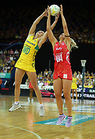 02.08.2017 England's Chelsea Pitman and Australia's Gabrielle Simpson in action during a netball match between Australia and England at the Brisbane Entertainment Centre in Brisbane Australia. Mandatory Photo Credit ©Michael Bradley.