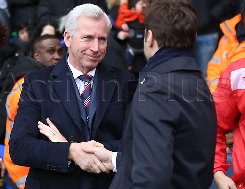 21.02.2016. White Hart Lane, London, England. Emirates FA Cup 5th Round. Tottenham Hotspur versus Crystal Palace. Alan Pardew and Mauricio Pochettino