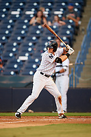 Tampa Yankees right fielder Austin Aune (34) at bat during a game against the Palm Beach Cardinals on July 25, 2017 at George M. Steinbrenner Field in Tampa, Florida.  Tampa defeated Palm beach 7-6.  (Mike Janes/Four Seam Images)