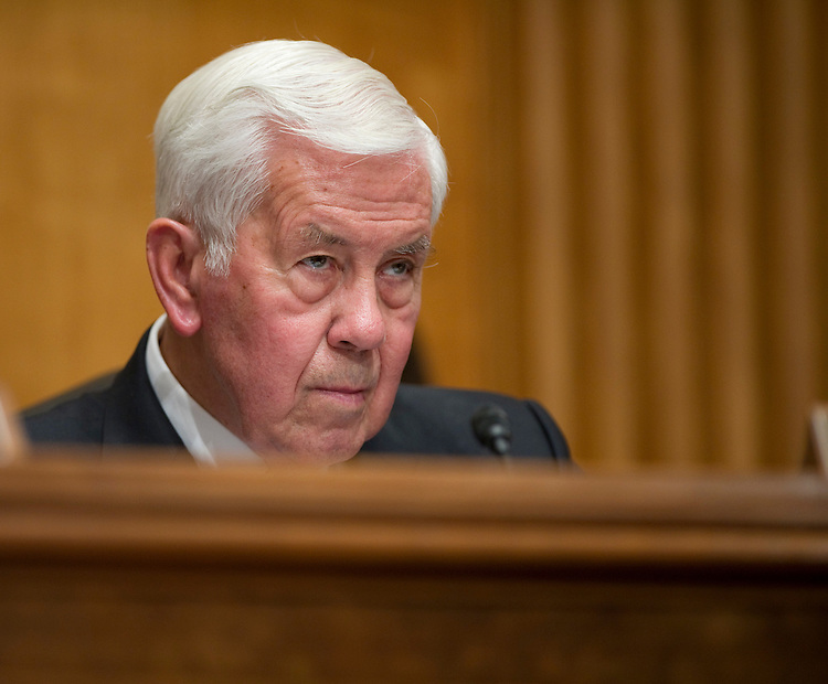 WASHINGTON, DC - June 28: Ranking member Richard G. Lugar, R-Ind., during the Senate Foreign Relations markup of legislation (S J Res 20) that would authorize limited U.S. military force in support of a North Atlantic Treaty Organization (NATO) humanitarian intervention in Libya. The panel endorsed the measure 14-5. (Photo by Scott J. Ferrell/Congressional Quarterly)