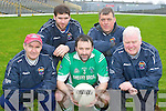 Fintan and the Machine: Milltown Castlemaine manager John Fintan Daly (left) with his l-r: club captain Ciaran Kelleher, team captain Damian Murphy, and selectors Timmy Teahan and Mike Carroll who are planning for the All Ireland Intermediatte Club final in Croke Parke next Sunday..
