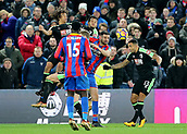 9th December 2017, Selhurst Park, London, England; EPL Premier League football, Crystal Palace versus Bournemouth; Bournemouth's Nathan Ake, Joshua King, Callum Wilson and Scott Dann of Crystal Palace battle for a loose ball