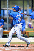 Toronto Blue Jays Nick Bailgod #18 at bat during a minor league spring training game against the Pittsburgh Pirates at Englebert Minor League Complex on March 16, 2013 in Dunedin, Florida.  (Mike Janes/Four Seam Images)