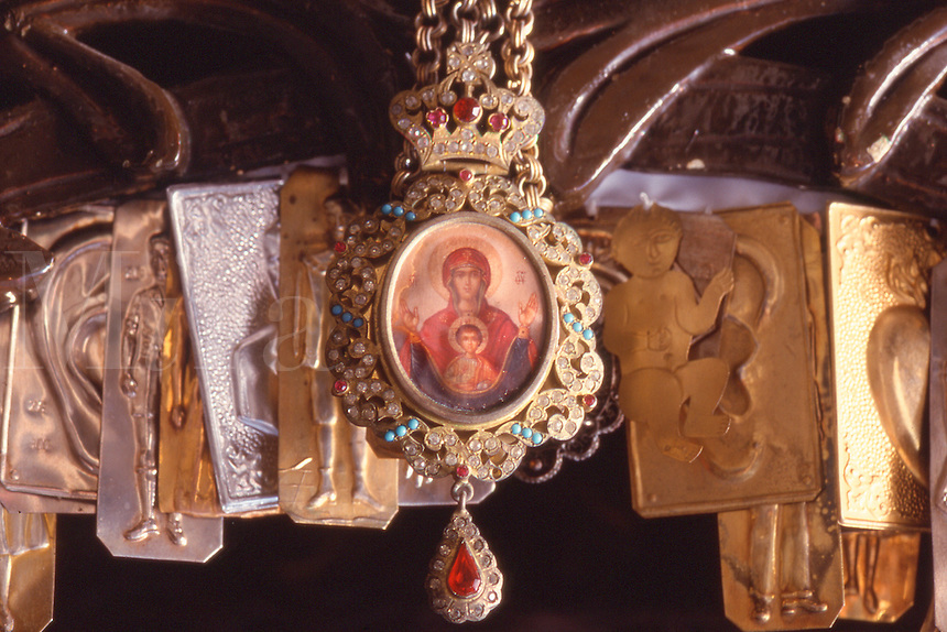 Medallion and and amulets in a Greek Orthodox church