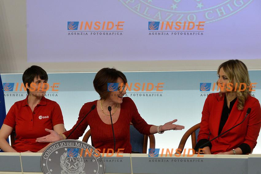 Samantha Cristoforetti, Elena Bonetti and Francesca Fialdini<br /> Rome November 21st 2019. Palazzo Chigi. Press conference for International Day for the Elimination of Violence against Women<br /> Foto  Samantha Zucchi Insidefoto