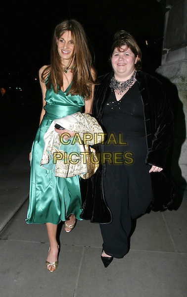 JEMIMA KHAN.Cirque Du Soleil charity performance at the Royal Albert Hall and aftershow dinner at the V&A Museum.5 February 2004.full length, full-length, green satin dress, gold peep toe shoes, sandals.www.capitalpictures.com.sales@capitalpictures.com.© Capital Pictures.