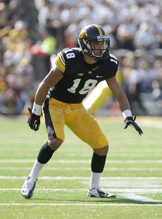 Iowa Hawkeyes Micah Hyde (18) in action during a game against the Minnesota Gophers on September 29, 2012 at Kinnick Stadium in Iowa City, IA. Iowa beat Minnesota 31-13.