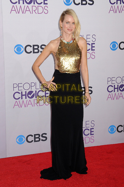 Naomi Watts.People's Choice Awards 2013 - Arrivals held at Nokia Theatre L.A. Live, Los Angeles, California, USA..January 9th, 2013.full length gold sleeveless sequins hand on hip sequined collar embellished jewel encrusted top skirt black halterneck .CAP/ADM/BP.©Byron Purvis/AdMedia/Capital Pictures.