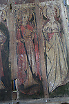 Medieval rood screen paintings, St Andrew church, Westhall, Suffolk, England, UK -  St Margaret of Antioch and St Appollonia