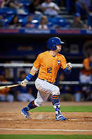 St. Lucie Mets right fielder Quinn Brodey (12) grounds out during a game against the Daytona Tortugas on August 3, 2018 at First Data Field in Port St. Lucie, Florida.  Daytona defeated St. Lucie 3-2.  (Mike Janes/Four Seam Images)
