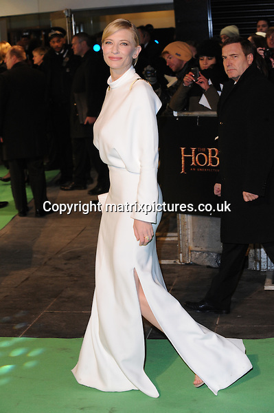 NON EXCLUSIVE PICTURE: PAUL TREADWAY / MATRIXPICTURES.CO.UK.PLEASE CREDIT ALL USES..WORLD RIGHTS..Cate Blanchett attends The 65th Royal Film Performance of The Hobbit: An Unexpected Journey, Odeon Leicester Square and Empire Leicester Square, London...DECEMBER 12TH 2012..REF: PTY 125892.
