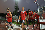06 September 2008: Frankie Hejduk (USA) (2), Eddie Lewis (USA) (7), and Ricardo Clark (USA) (4) lead the U.S. out for practice. The United States Men's National Team defeated the Cuba Men's National Team 1-0 at Estadio Nacional de Futbol Pedro Marrero in Havana, Cuba in a CONCACAF semifinal round FIFA 2010 South Africa World Cup Qualifier.