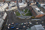 © Joel Goodman - 07973 332324 . 07/12/2013 . Piccadilly Gardens and central Manchester's main tram and bus interchange . Cityscape view of Manchester . Photo credit : Joel Goodman