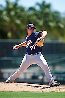 GCL Twins relief pitcher Daniel Martinez (27) during a game against the GCL Orioles on August 11, 2016 at the Ed Smith Stadium in Sarasota, Florida.  GCL Twins defeated GCL Orioles 4-3.  (Mike Janes/Four Seam Images)