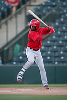 AZL Angels right fielder D'Shawn Knowles (20) at bat during an Arizona League game against the AZL Diamondbacks at Tempe Diablo Stadium on June 27, 2018 in Tempe, Arizona. AZL Angels defeated the AZL Diamondbacks 5-3. (Zachary Lucy/Four Seam Images)