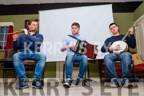 Bryan O'Leary centre with Ciaran O'Sullivan and Colm Guilfoyle playing the music of Sliabh Luachra at the Handed Down concert in the Scartaglen Heritage Centre on Saturday night