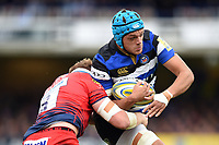 Zach Mercer of Bath Rugby takes on the Worcester Warriors defence. Aviva Premiership match, between Bath Rugby and Worcester Warriors on October 7, 2017 at the Recreation Ground in Bath, England. Photo by: Patrick Khachfe / Onside Images