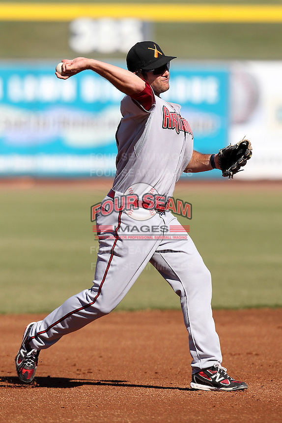 Salt River Rafters third baseman Ryan Wheeler #27 during an Arizona Fall League game against the Peoria Javelinas at Peoria Sports Complex on November 2, 2011 in Peoria, Arizona.  Peoria defeated Salt River 4-2.  (Mike Janes/Four Seam Images)
