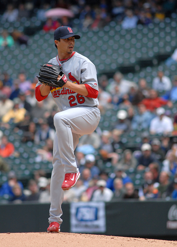 St. Louis Cardinals starting pitcher Kyle Lohse pitches against the Colorado Rockies during a game at Coors Field on May 8, 2008.