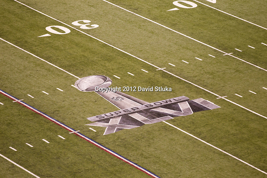 A general view of the Super Bowl XLVI logo on the field at Lucas Oil Stadium during the NFL Super Bowl XLVI football game between the New York Giants and the New England Patriots on Sunday, Feb. 5, 2012, in Indianapolis. The Giants won 21-17 (AP Photo/David Stluka)...