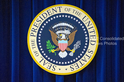 Seal of the President of the United States on the wall in the South Court Auditorium of the White House in Washington, DC on Wednesday, June 22, 2016. <br /> Credit: Ron Sachs / CNP
