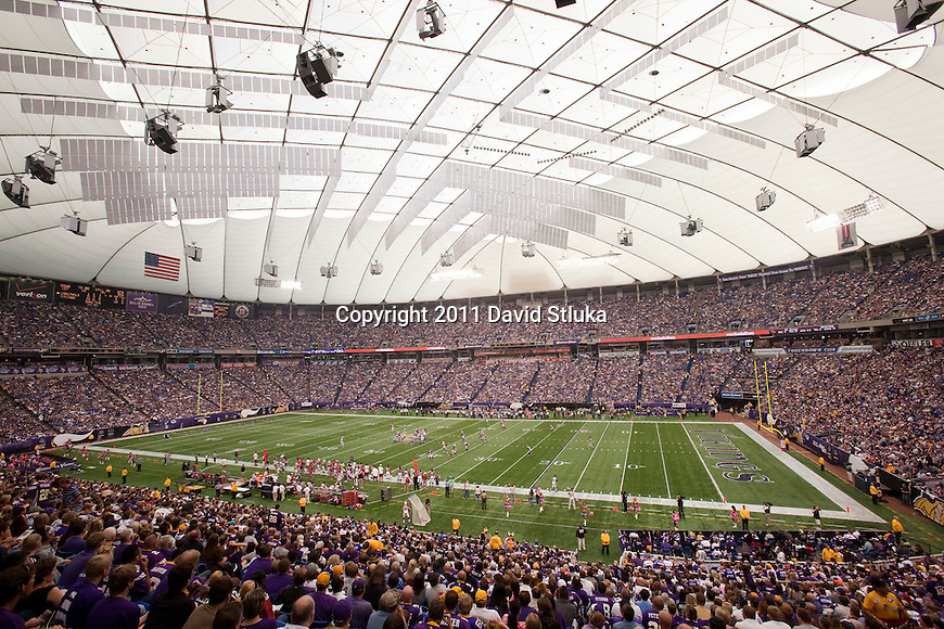 A general view of the Hubert H. Humphrey Metrodome at Mall of America Field during the Minnesota Vikings Week 5 NFL football game against the Arizona Cardinals on October 9, 2011 in Minneapolis, Minnesota. The Vikings won 34-10. (AP Photo/David Stluka)